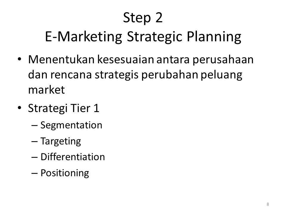 Step 2 E-Marketing Strategic Planning Menentukan kesesuaian antara perusahaan dan rencana strategis perubahan peluang market Strategi Tier 1 – Segmentation – Targeting – Differentiation – Positioning 8