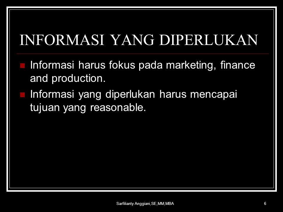 Sarfilianty Anggiani,SE,MM,MBA6 INFORMASI YANG DIPERLUKAN Informasi harus fokus pada marketing, finance and production.