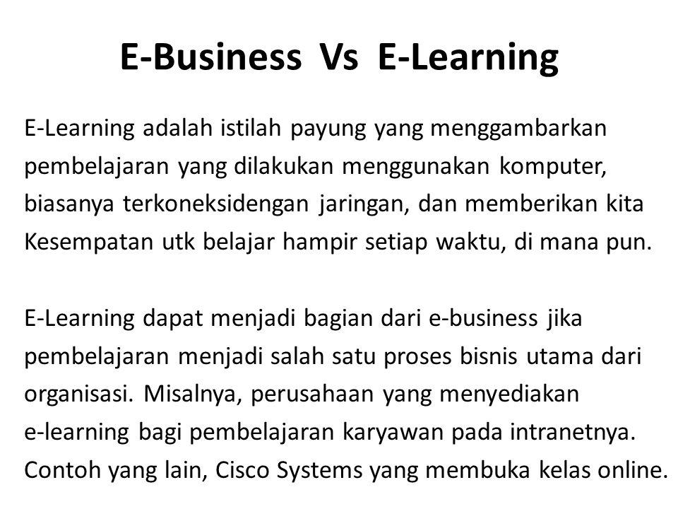E-Business Vs E-Learning E-Learning adalah istilah payung yang menggambarkan pembelajaran yang dilakukan menggunakan komputer, biasanya terkoneksidengan jaringan, dan memberikan kita Kesempatan utk belajar hampir setiap waktu, di mana pun.