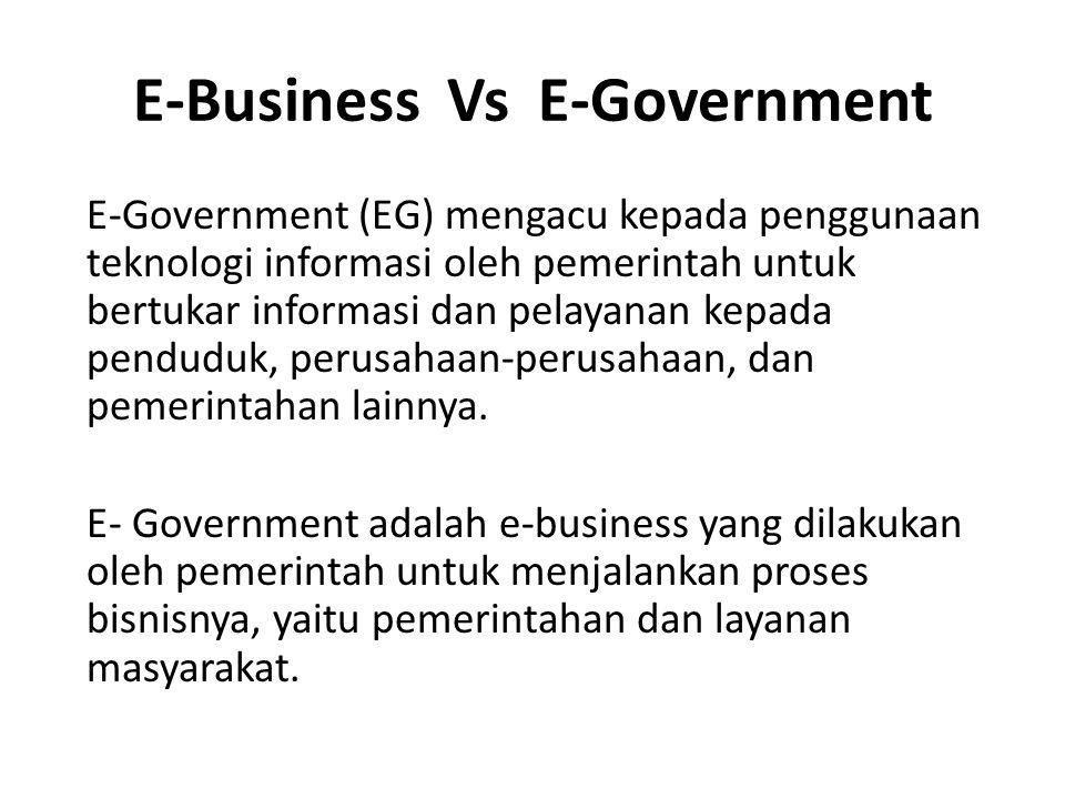 E-Business Vs E-Government E-Government (EG) mengacu kepada penggunaan teknologi informasi oleh pemerintah untuk bertukar informasi dan pelayanan kepada penduduk, perusahaan-perusahaan, dan pemerintahan lainnya.