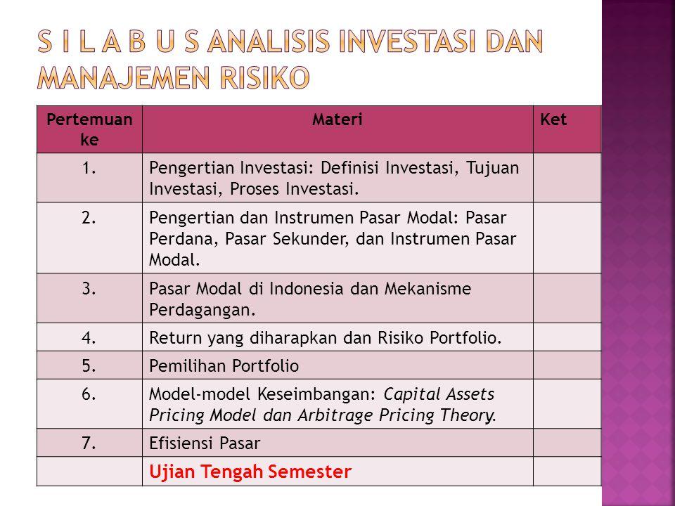 Pertemuan ke MateriKet 1.Pengertian Investasi: Definisi Investasi, Tujuan Investasi, Proses Investasi. 2.Pengertian dan Instrumen Pasar Modal: Pasar P