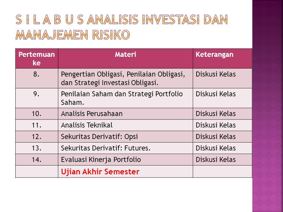 Pertemuan ke MateriKeterangan 8.Pengertian Obligasi, Penilaian Obligasi, dan Strategi Investasi Obligasi. Diskusi Kelas 9.Penilaian Saham dan Strategi