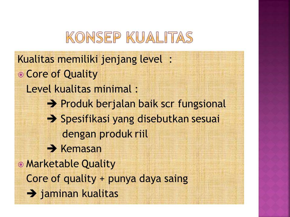 Kualitas memiliki jenjang level :  Core of Quality Level kualitas minimal :  Produk berjalan baik scr fungsional  Spesifikasi yang disebutkan sesua