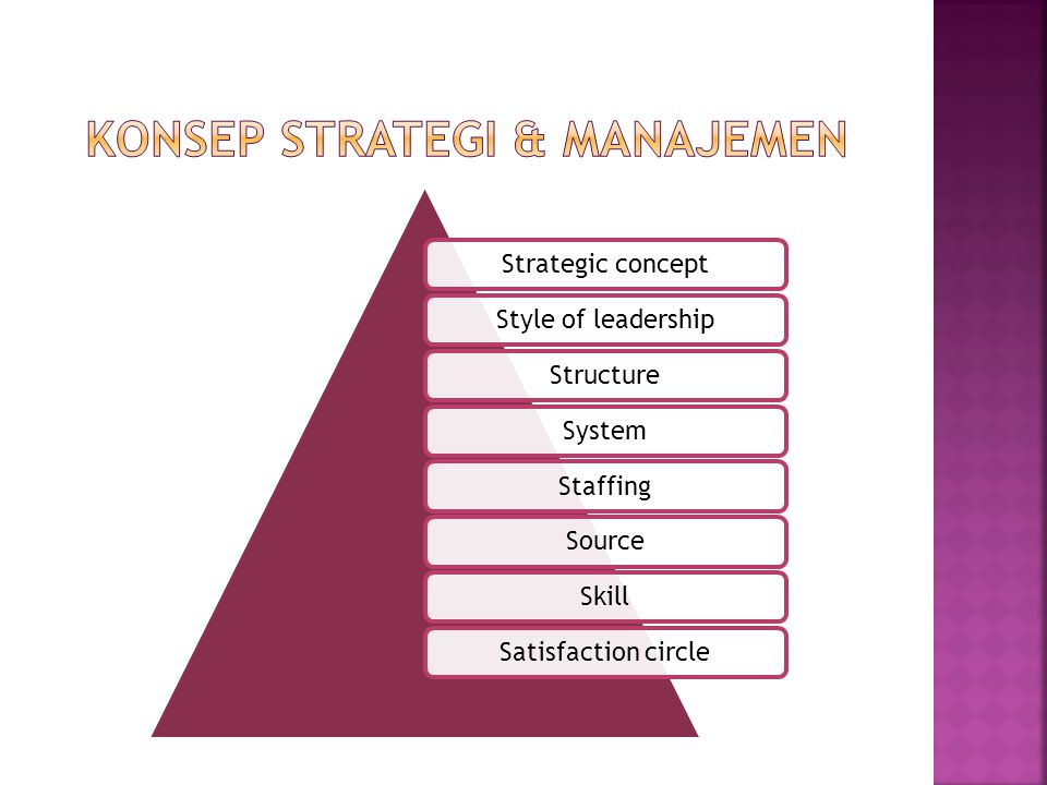 Strategic conceptStyle of leadershipStructure System StaffingSourceSkillSatisfaction circle