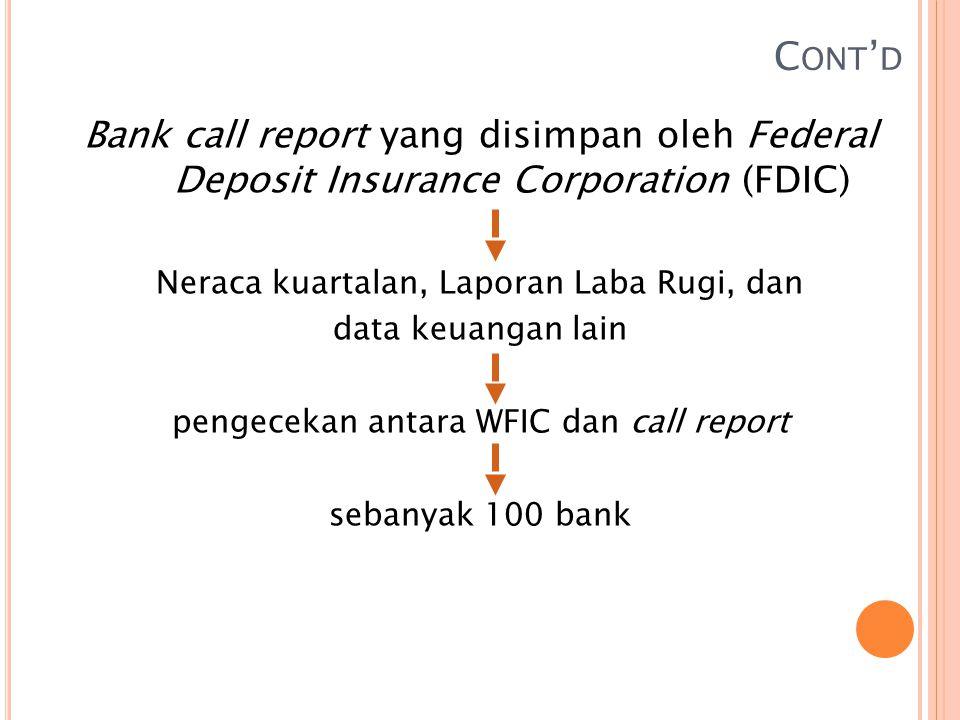 C ONT ' D Bank call report yang disimpan oleh Federal Deposit Insurance Corporation (FDIC) Neraca kuartalan, Laporan Laba Rugi, dan data keuangan lain pengecekan antara WFIC dan call report sebanyak 100 bank