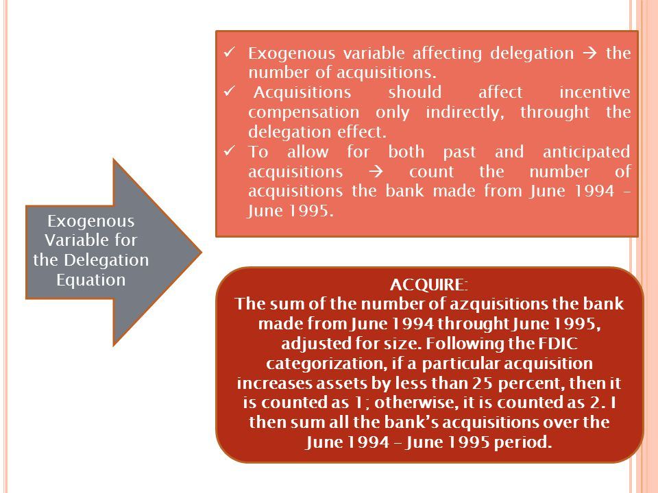Exogenous Variable for the Delegation Equation Exogenous variable affecting delegation  the number of acquisitions.