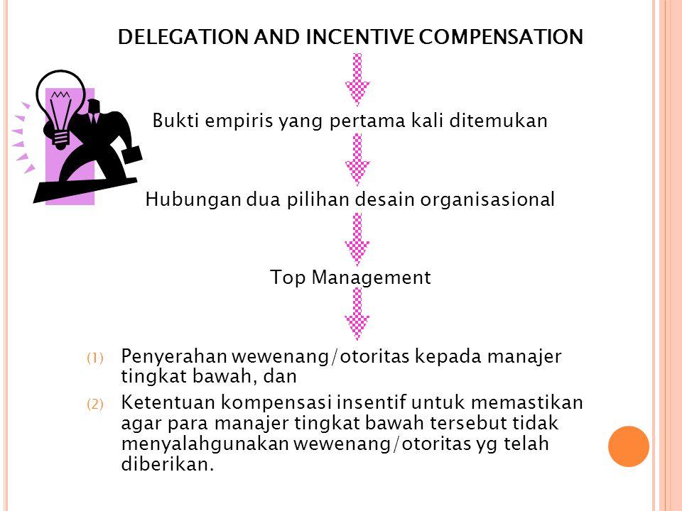 DELEGATION AND INCENTIVE COMPENSATION Bukti empiris yang pertama kali ditemukan Hubungan dua pilihan desain organisasional Top Management (1) Penyerahan wewenang/otoritas kepada manajer tingkat bawah, dan (2) Ketentuan kompensasi insentif untuk memastikan agar para manajer tingkat bawah tersebut tidak menyalahgunakan wewenang/otoritas yg telah diberikan.