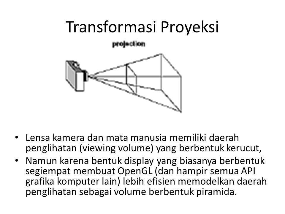 Transformasi Proyeksi Lensa kamera dan mata manusia memiliki daerah penglihatan (viewing volume) yang berbentuk kerucut, Namun karena bentuk display yang biasanya berbentuk segiempat membuat OpenGL (dan hampir semua API grafika komputer lain) lebih efisien memodelkan daerah penglihatan sebagai volume berbentuk piramida.