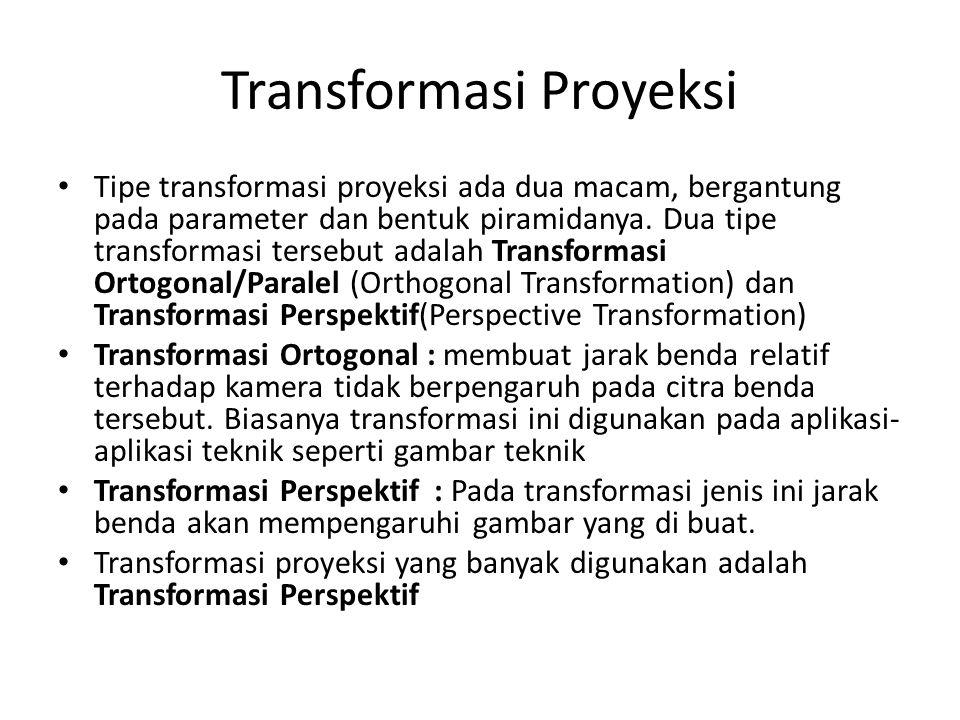 Transformasi Proyeksi Tipe transformasi proyeksi ada dua macam, bergantung pada parameter dan bentuk piramidanya.