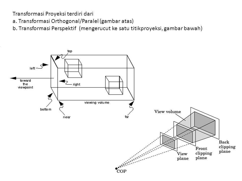 Transformasi Proyeksi terdiri dari a. Transformasi Orthogonal/Paralel (gambar atas) b. Transformasi Perspektif (mengerucut ke satu titikproyeksi, gamb
