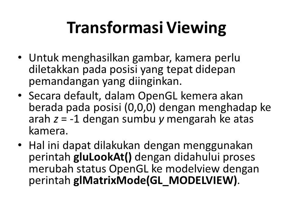 Transformasi Viewing Untuk menghasilkan gambar, kamera perlu diletakkan pada posisi yang tepat didepan pemandangan yang diinginkan. Secara default, da