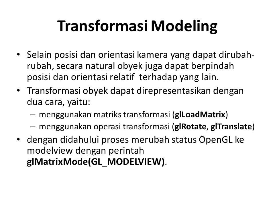 Transformasi Modeling Selain posisi dan orientasi kamera yang dapat dirubah- rubah, secara natural obyek juga dapat berpindah posisi dan orientasi relatif terhadap yang lain.