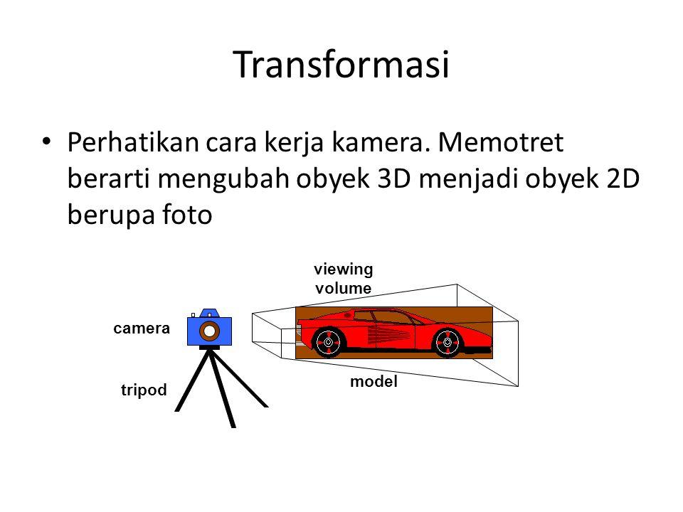 Transformasi Perhatikan cara kerja kamera. Memotret berarti mengubah obyek 3D menjadi obyek 2D berupa foto camera tripod model viewing volume