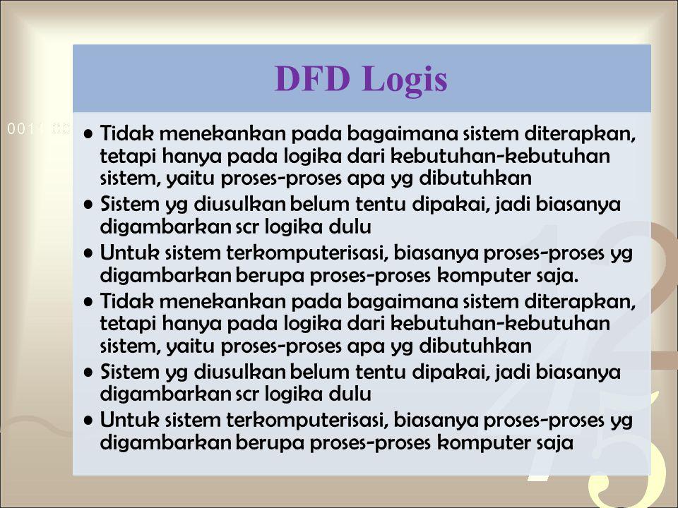 DFD Logis Tidak menekankan pada bagaimana sistem diterapkan, tetapi hanya pada logika dari kebutuhan-kebutuhan sistem, yaitu proses-proses apa yg dibu