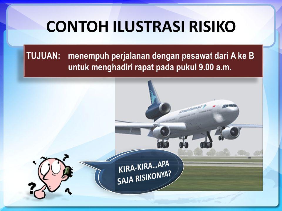 CONTOH ILUSTRASI RISIKO TUJUAN: menempuh perjalanan dengan pesawat dari A ke B untuk menghadiri rapat pada pukul 9.00 a.m.