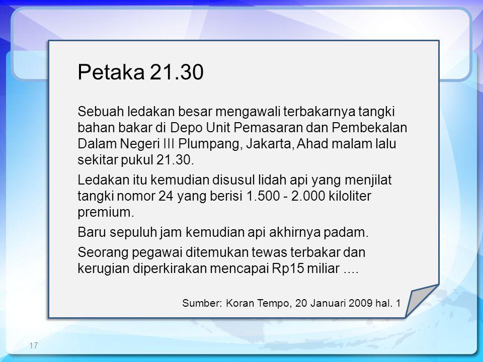 17 Petaka 21.30 Sebuah ledakan besar mengawali terbakarnya tangki bahan bakar di Depo Unit Pemasaran dan Pembekalan Dalam Negeri III Plumpang, Jakarta, Ahad malam lalu sekitar pukul 21.30.