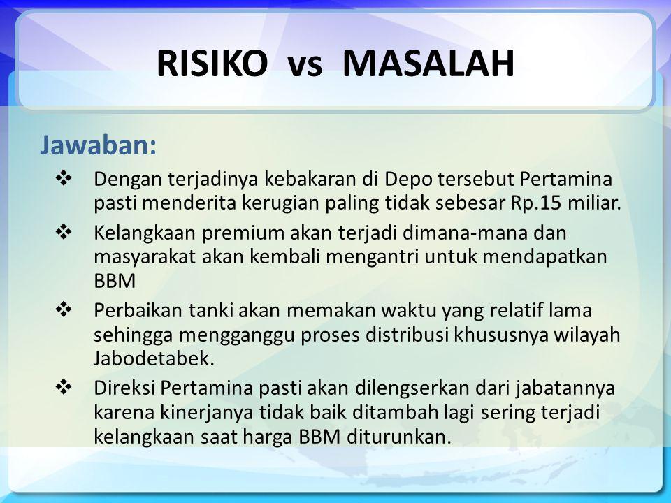 RISIKO vs MASALAH Jawaban:  Dengan terjadinya kebakaran di Depo tersebut Pertamina pasti menderita kerugian paling tidak sebesar Rp.15 miliar.