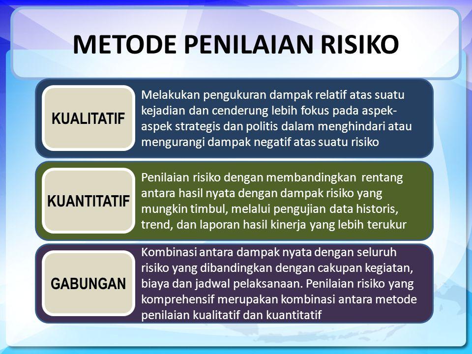 METODE PENILAIAN RISIKO Melakukan pengukuran dampak relatif atas suatu kejadian dan cenderung lebih fokus pada aspek- aspek strategis dan politis dalam menghindari atau mengurangi dampak negatif atas suatu risiko Penilaian risiko dengan membandingkan rentang antara hasil nyata dengan dampak risiko yang mungkin timbul, melalui pengujian data historis, trend, dan laporan hasil kinerja yang lebih terukur Kombinasi antara dampak nyata dengan seluruh risiko yang dibandingkan dengan cakupan kegiatan, biaya dan jadwal pelaksanaan.
