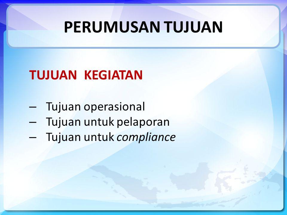 PERUMUSAN TUJUAN TUJUAN KEGIATAN – Tujuan operasional – Tujuan untuk pelaporan – Tujuan untuk compliance