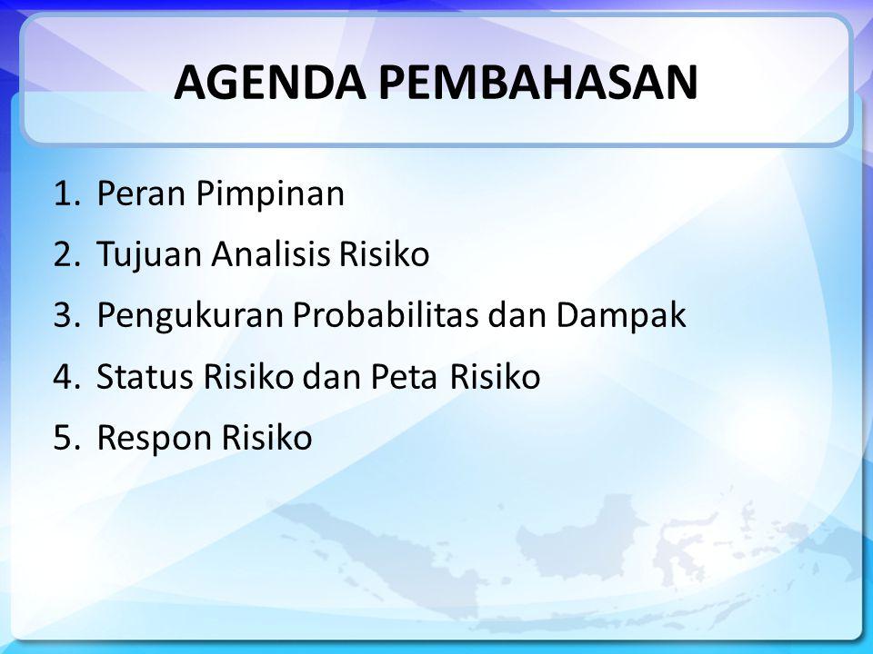 AGENDA PEMBAHASAN 1.Peran Pimpinan 2.Tujuan Analisis Risiko 3.Pengukuran Probabilitas dan Dampak 4.Status Risiko dan Peta Risiko 5.Respon Risiko
