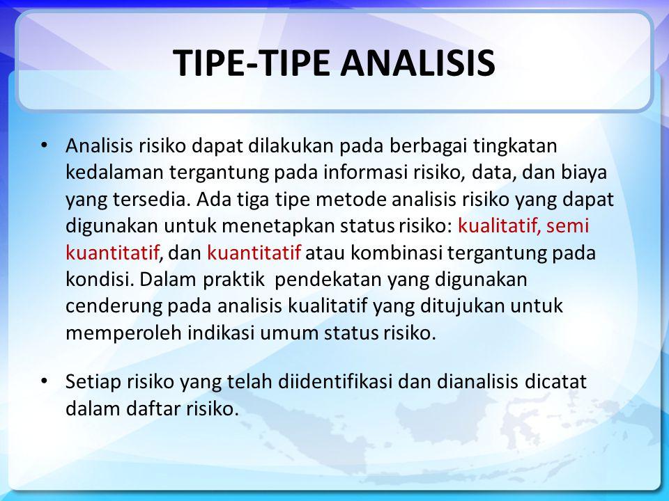 TIPE-TIPE ANALISIS Analisis risiko dapat dilakukan pada berbagai tingkatan kedalaman tergantung pada informasi risiko, data, dan biaya yang tersedia.