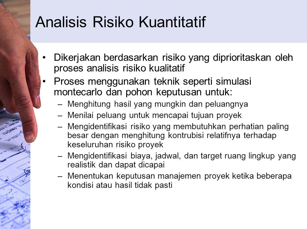 Analisis Risiko Kuantitatif Dikerjakan berdasarkan risiko yang diprioritaskan oleh proses analisis risiko kualitatif Proses menggunakan teknik seperti