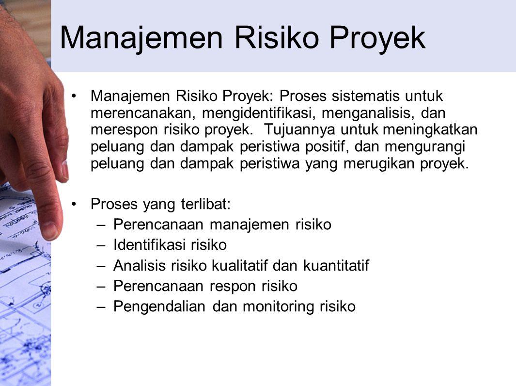 Manajemen Risiko Proyek Manajemen Risiko Proyek: Proses sistematis untuk merencanakan, mengidentifikasi, menganalisis, dan merespon risiko proyek. Tuj