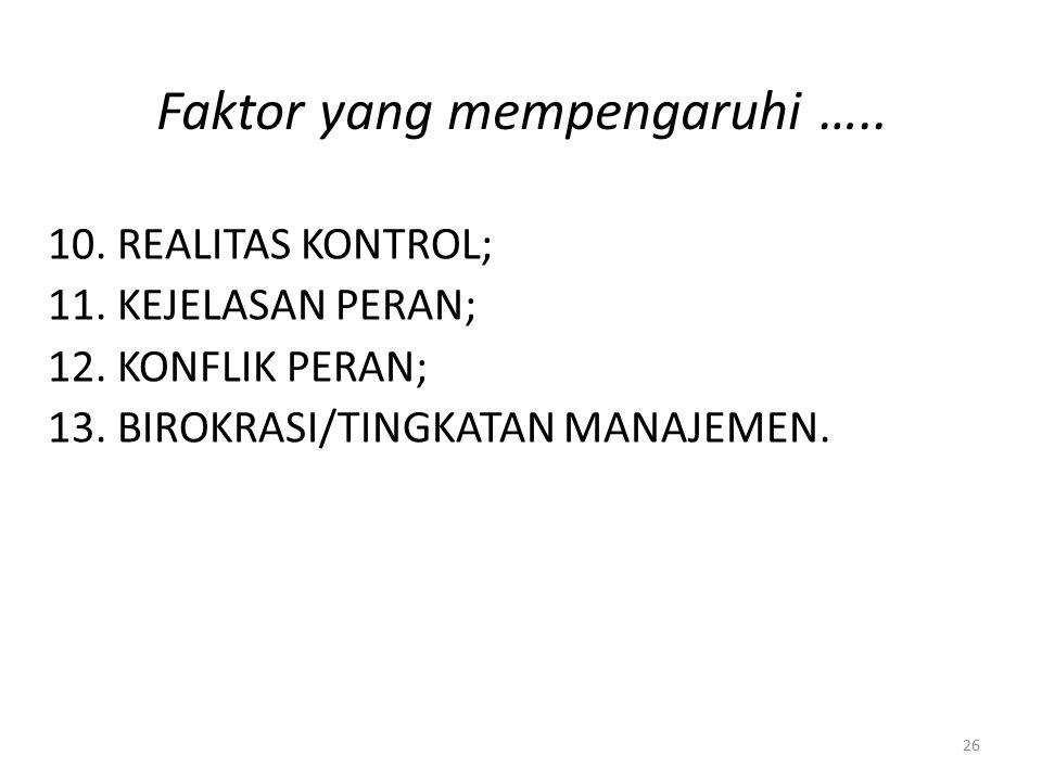 Faktor yang mempengaruhi ….. 10.REALITAS KONTROL; 11.KEJELASAN PERAN; 12.KONFLIK PERAN; 13.BIROKRASI/TINGKATAN MANAJEMEN. 26