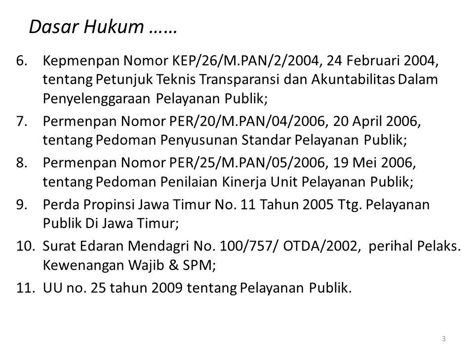 Dasar Hukum …… 6.Kepmenpan Nomor KEP/26/M.PAN/2/2004, 24 Februari 2004, tentang Petunjuk Teknis Transparansi dan Akuntabilitas Dalam Penyelenggaraan P