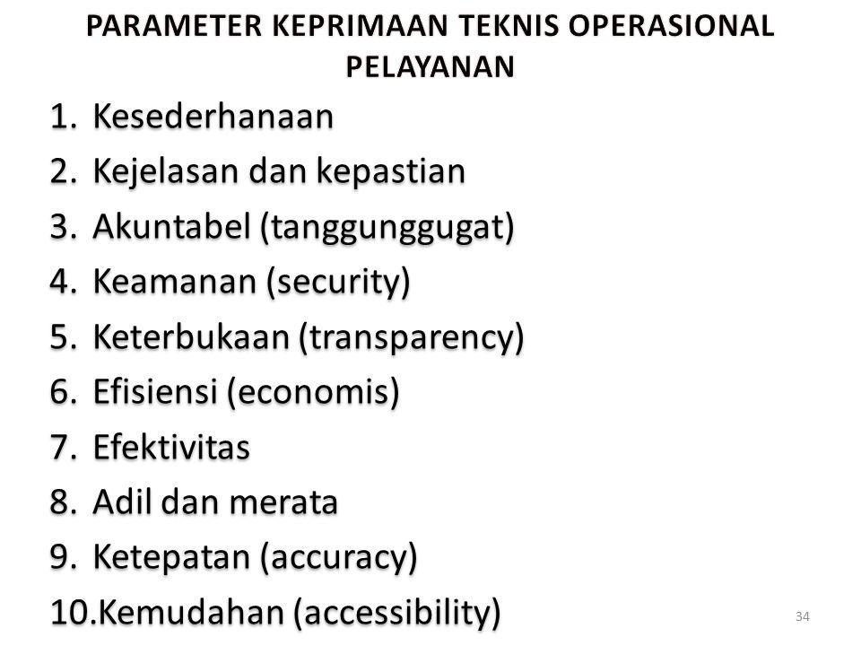 1.Kesederhanaan 2.Kejelasan dan kepastian 3.Akuntabel (tanggunggugat) 4.Keamanan (security) 5.Keterbukaan (transparency) 6.Efisiensi (economis) 7.Efek
