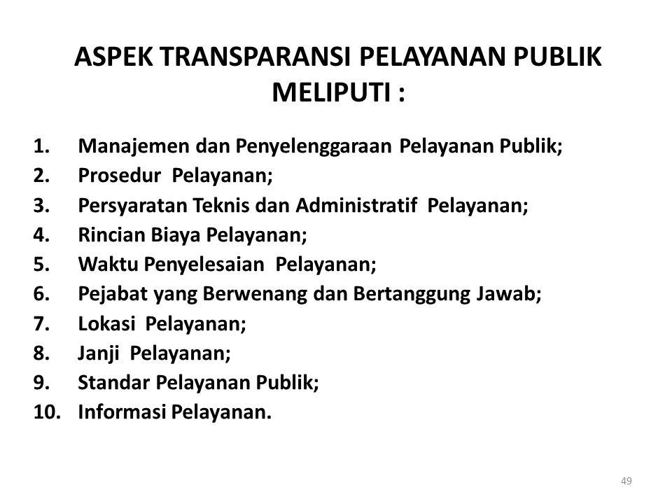 ASPEK TRANSPARANSI PELAYANAN PUBLIK MELIPUTI : 1.Manajemen dan Penyelenggaraan Pelayanan Publik; 2.Prosedur Pelayanan; 3.Persyaratan Teknis dan Admini