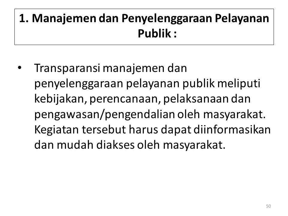1. Manajemen dan Penyelenggaraan Pelayanan Publik : Transparansi manajemen dan penyelenggaraan pelayanan publik meliputi kebijakan, perencanaan, pelak