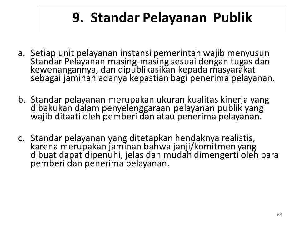 9. Standar Pelayanan Publik a.Setiap unit pelayanan instansi pemerintah wajib menyusun Standar Pelayanan masing-masing sesuai dengan tugas dan kewenan