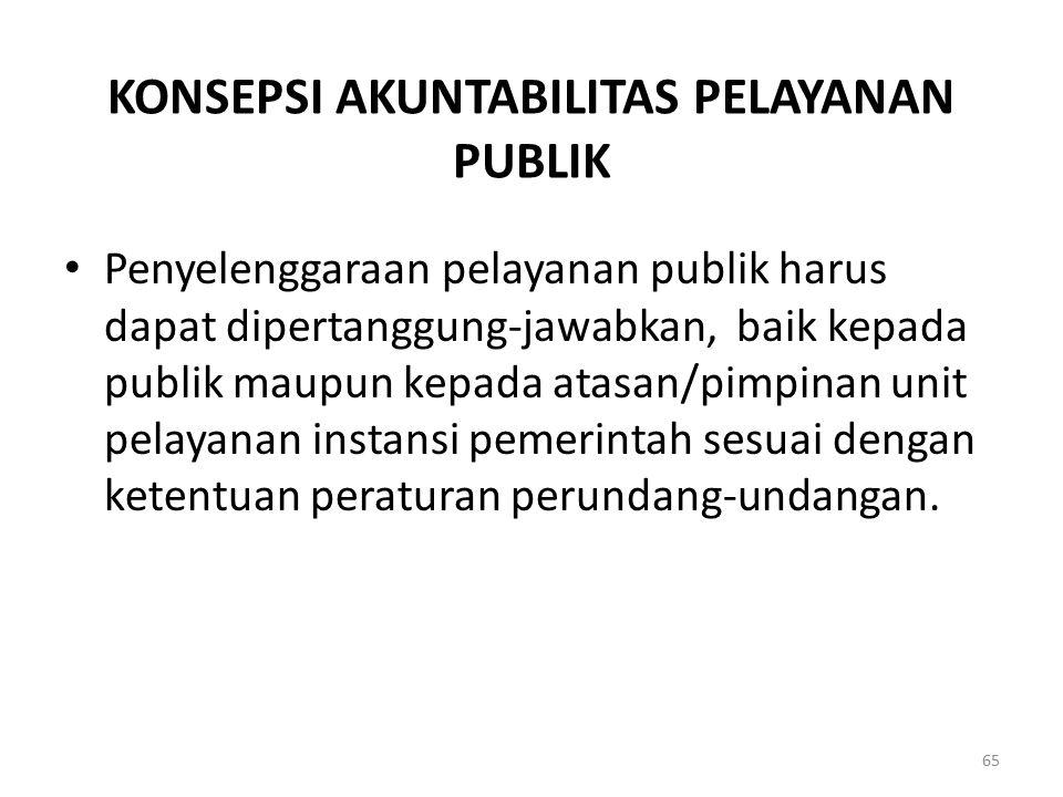 KONSEPSI AKUNTABILITAS PELAYANAN PUBLIK Penyelenggaraan pelayanan publik harus dapat dipertanggung-jawabkan, baik kepada publik maupun kepada atasan/p
