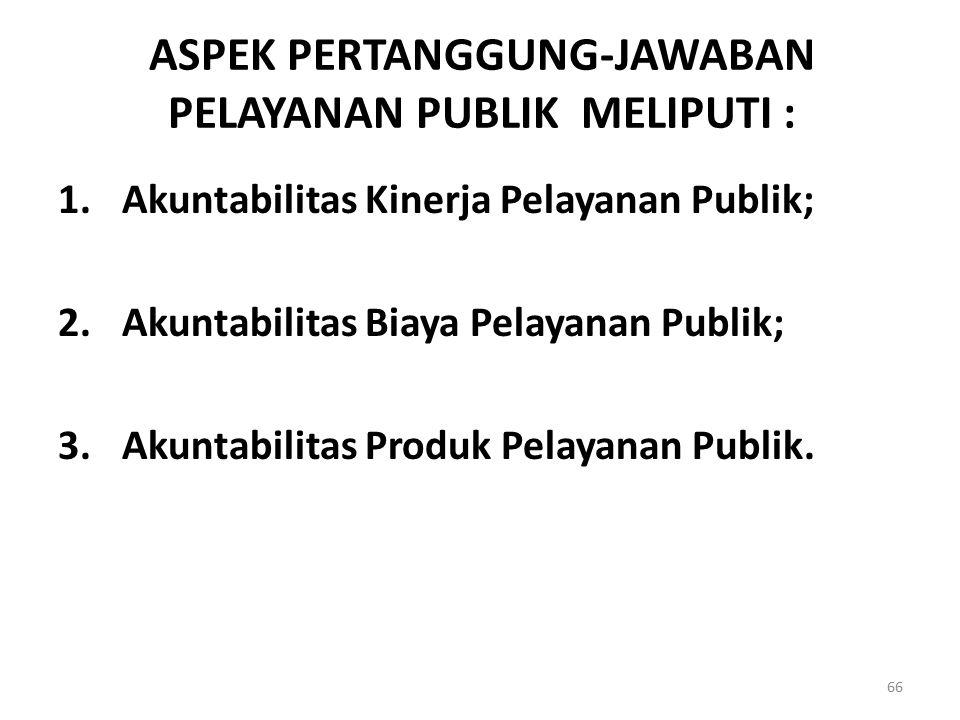 ASPEK PERTANGGUNG-JAWABAN PELAYANAN PUBLIK MELIPUTI : 1.Akuntabilitas Kinerja Pelayanan Publik; 2.Akuntabilitas Biaya Pelayanan Publik; 3.Akuntabilita