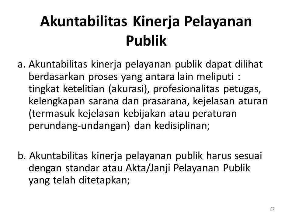 Akuntabilitas Kinerja Pelayanan Publik a. Akuntabilitas kinerja pelayanan publik dapat dilihat berdasarkan proses yang antara lain meliputi : tingkat