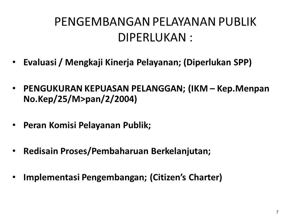 ASAS PELAYANAN PUBLIK Penyelenggaraan pelayanan publik berasaskan : 1.Kepentingan Umum; 2.Kepastian; 3.Kepastian Hukum; 4.Kesamaan Hak; 5.Keseimbangan Hak Dan Kewajiban; 6.Keprofesionalan; 7.Partisipatif; 18