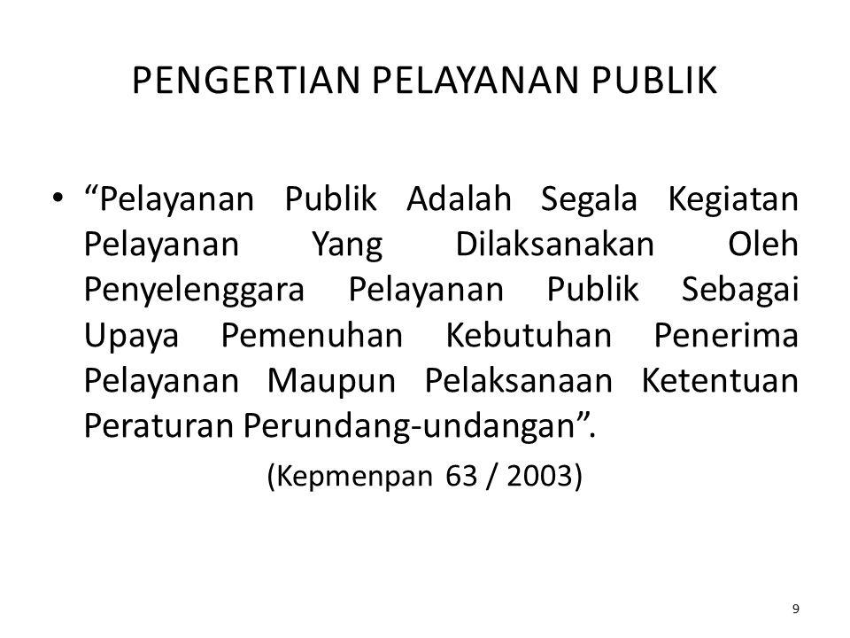 BEBERAPA PENGERTIAN (Menurut UU no.25 tahun 2009) 1.