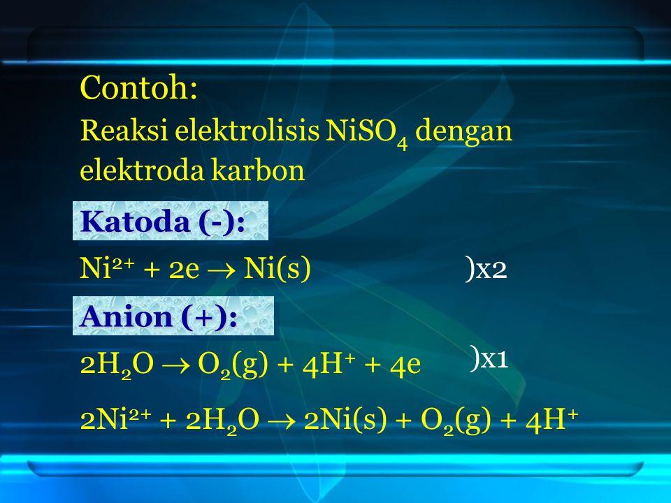 Contoh: Reaksi elektrolisis NiSO 4 dengan elektroda karbon 2H 2 O  O 2 (g) + 4H + + 4e )x2 )x1 Ni 2+ + 2e  Ni(s) Katoda (-): Katoda (-): Katoda (-): Katoda (-): Anion (+): Anion (+): Anion (+): Anion (+): 2Ni 2+ + 2H 2 O  2Ni(s) + O 2 (g) + 4H +
