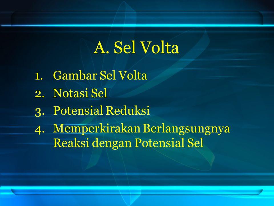A. Sel Volta 1.Gambar Sel Volta 2.Notasi Sel 3.Potensial Reduksi 4.Memperkirakan Berlangsungnya Reaksi dengan Potensial Sel