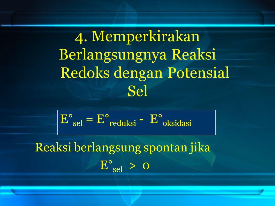 4. Memperkirakan Berlangsungnya Reaksi Redoks dengan Potensial Sel E° sel = E° reduksi - E° oksidasi Reaksi berlangsung spontan jika E° sel > 0