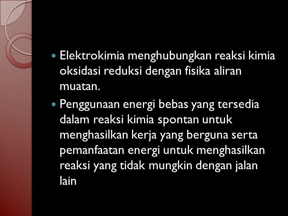 Oksidasi = donor elektron = kenaikan biloks / valensi / muatan setengah oksidasi Cu Cu 2+ + 2e Reduksi = akseptor elektron = penurunan biloks / valensi / muatan Setengah reduksi Ag + + e Ag Reaksi redoks = reaksi yang mengalihkan elektron Cu + 2 Ag + Cu 2+ + 2 Ag