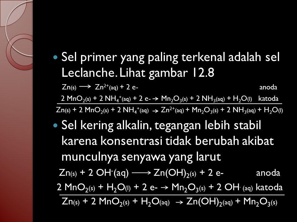 Sel seng merkuri oksida Zn (s) + 2 OH - (aq) Zn(OH) 2 (aq) + 2 e- anoda HgO (s) + H 2 O (l) + 2 e- Hg (l) + 2 OH - (aq) katoda Zn (s) + HgO (s) + H 2 O (l) Zn(OH) 2 (aq) + Hg (l) Sel ini mempunyai keluaran stabil sebesar 1.34 V