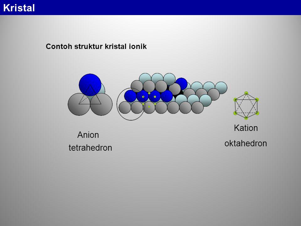 Contoh struktur kristal ionik Anion Kation tetrahedron oktahedron Kristal