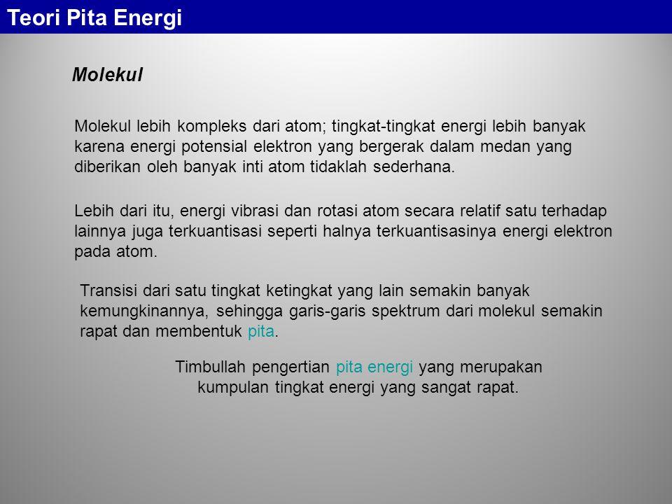 Molekul lebih kompleks dari atom; tingkat-tingkat energi lebih banyak karena energi potensial elektron yang bergerak dalam medan yang diberikan oleh b