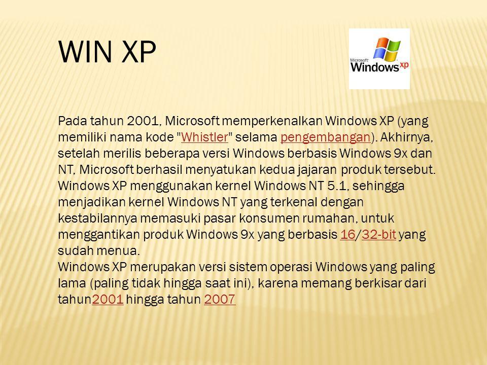 Pada tahun 2001, Microsoft memperkenalkan Windows XP (yang memiliki nama kode
