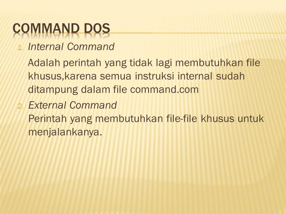 1. Internal Command Adalah perintah yang tidak lagi membutuhkan file khusus,karena semua instruksi internal sudah ditampung dalam file command.com 2.