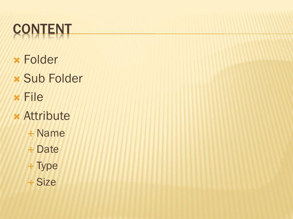  Folder  Sub Folder  File  Attribute  Name  Date  Type  Size