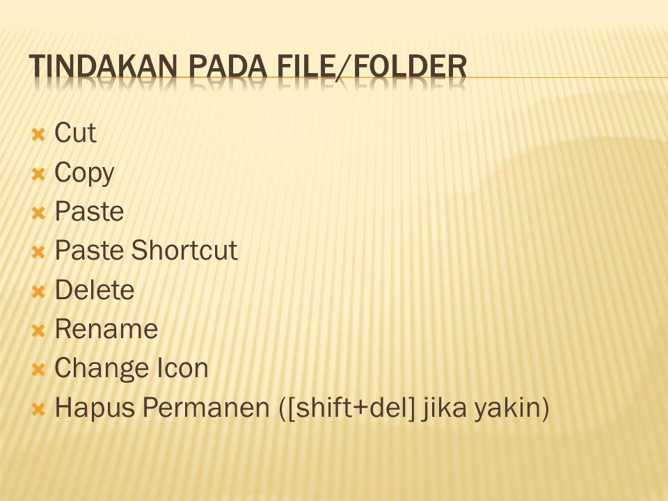  Cut  Copy  Paste  Paste Shortcut  Delete  Rename  Change Icon  Hapus Permanen ([shift+del] jika yakin)