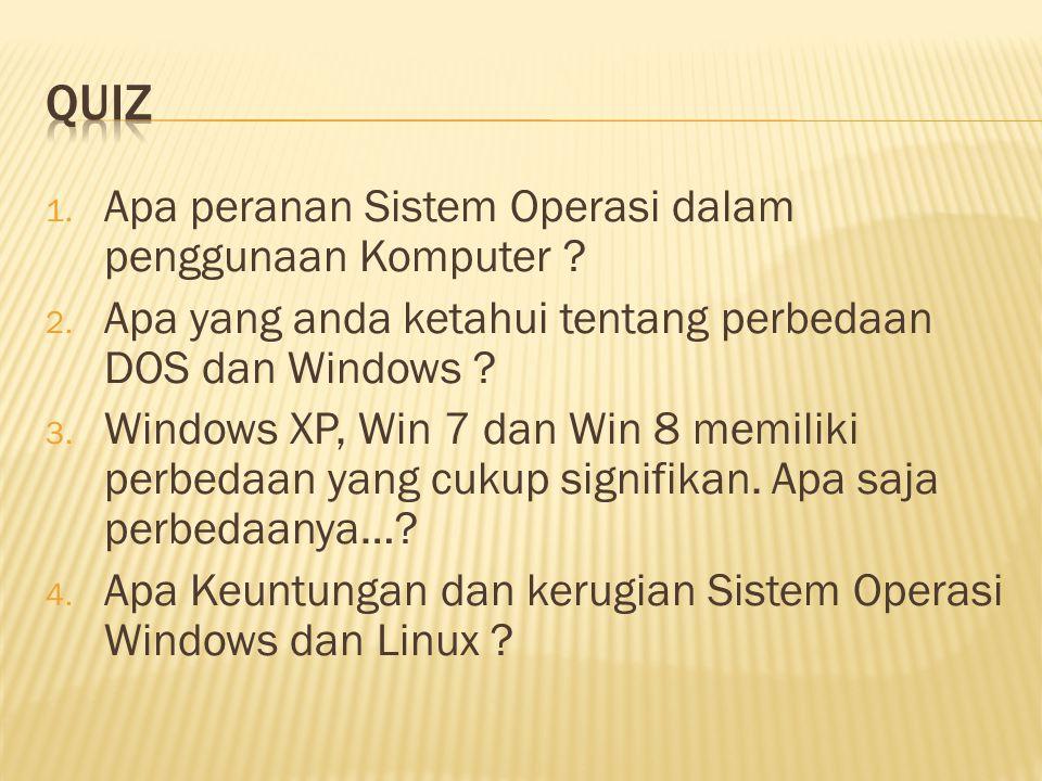 1. Apa peranan Sistem Operasi dalam penggunaan Komputer ? 2. Apa yang anda ketahui tentang perbedaan DOS dan Windows ? 3. Windows XP, Win 7 dan Win 8